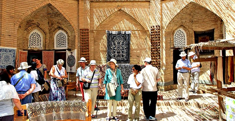 Russian tourists in Uzbekistan