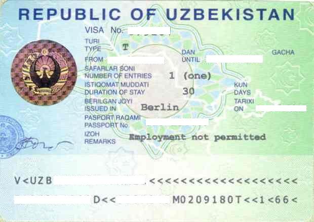Uzbekıstan vısa